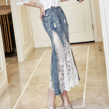 Sexy Women Badnage Lace Denim Skirts Vintage High Waist Ripped Hole Mermaid Skirt For