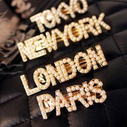 1 предмет город письмо жемчуг металлическая заколка для волос женская заколка Нью-Йорк Токио заколка для волос Paris London жемчужный головной