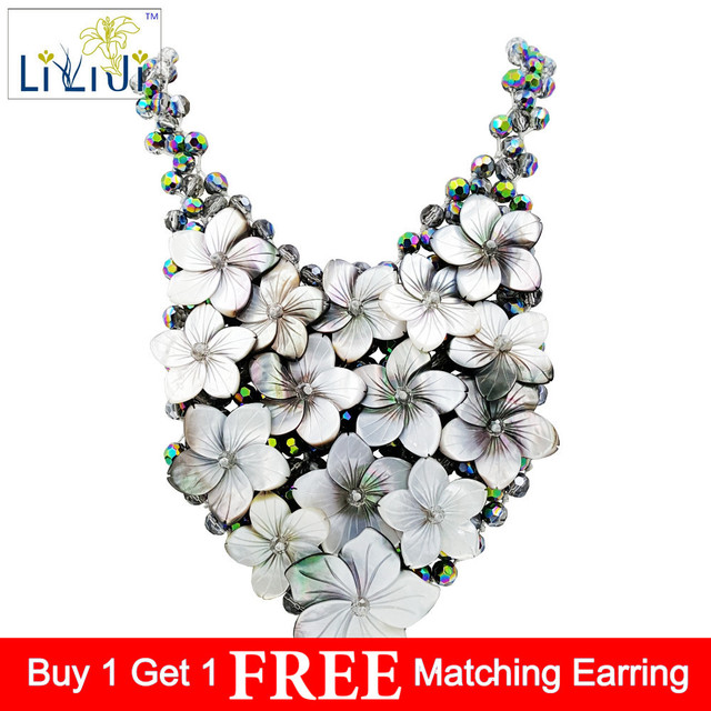 LiiJi Unique Handmade knitting Shining Crystal Beads setting Shell Flowers Women Jewelry Statement Necklace Approx 57cm/23''