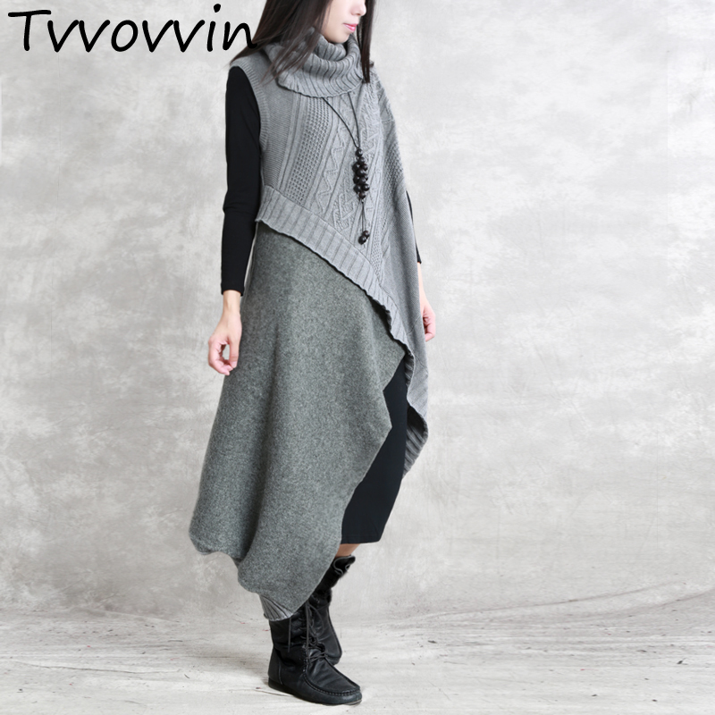 TVVOVVIN Turtleneck Pathchwork Woolen Dress Two piece Set Retro Knit Bottoming Clothing Female Vestido Black Grey