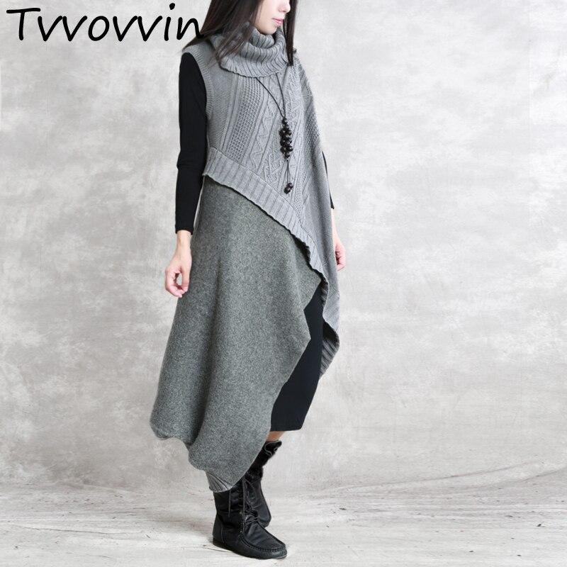 TVVOVVIN Turtleneck Pathchwork Woolen Dress Two piece Set Retro Knit Bottoming Clothing Female Vestido Black Grey Burgundy E201
