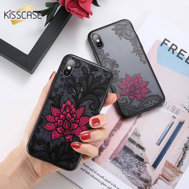 on sale 98fae 64868 US $1.36 32% OFF|KISSCASE embossed 3d Flower phone cases For iPhone X XS XR  XS MAX Hard PC Phone cases For 5 5S SE 6 6S Plus 7 8 Plus Coque Capa-in ...