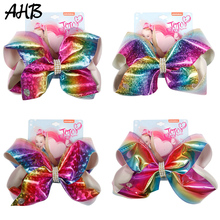 AHB Fashion Soft Leather 8 Large Hair Bows Clips for Girls Rainbow BowKnot Rhinestones Hairgrips Kids Accessories