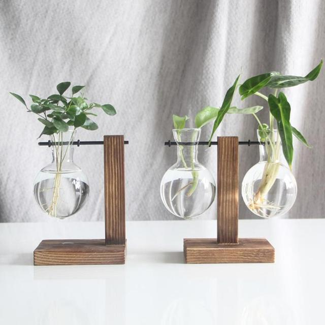 Plant Glass Vases Transparent Vase Wooden Stand Flower Pot for Flower Plants Bonsai Home Desk Wedding Decoration 5