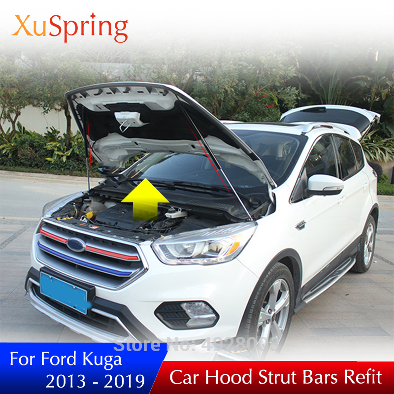 For 2013-2019 Ford Kuga Car Engine Bonnet Cover Hydraulic Rod Strut Bars Spring Shock Lift Supporting Bracket Car Styling RefitFor 2013-2019 Ford Kuga Car Engine Bonnet Cover Hydraulic Rod Strut Bars Spring Shock Lift Supporting Bracket Car Styling Refit
