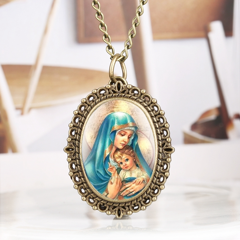 Immaculate Catholic Blessed Virgin Mary Quartz Pocket Watch Souvenir Pendant Necklace Clock Gifts for Women as Collectibles 2020