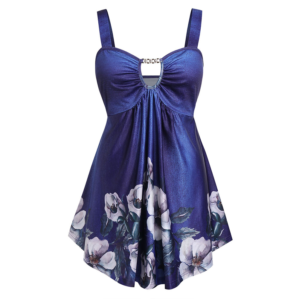 Rosegal Plus Size Floral Print Cut Out Empire Waist   Tank     Top   Sweetheart Neck Sleeveless Long Camis Big Size Women Summer   Tops