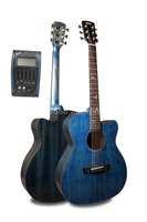 Finlay 40 Electric Cutaway Acoustic Guitar,Solid Spruce Top/Mahogany Body, guitars china With Hard case,matt blue FG A412CE