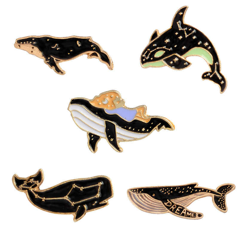 Black Kid Party Cartoon Denim Jeans Valentines Gift Shark 1PC Enamel Men Constellation Sweater Brooch Lonely Whale Seaside