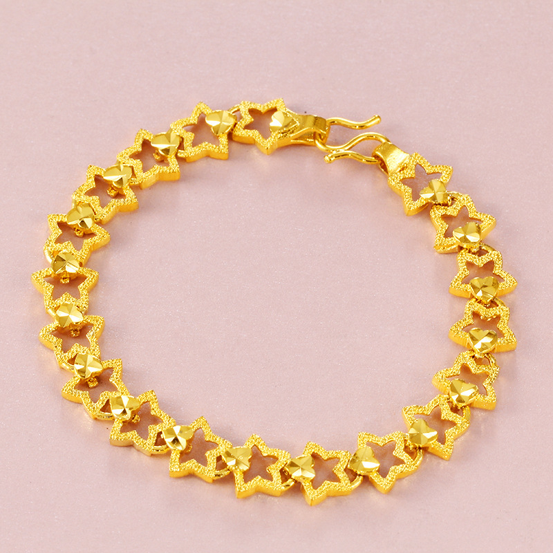 Us 3 06 26 Off Hot Vietnam Alluvial Gold Bracelets Women Jewelry No Fade Star Heart Chain Design In Strand From