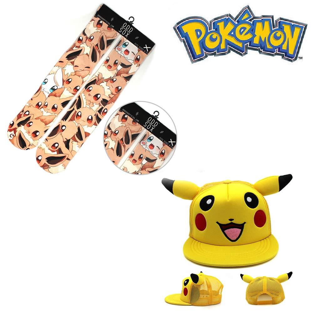 OHCOMICS Poke Mon Pocket Monster Pikachu Hot Anime Baseball Cap+Socks Hat Peaked Cap Stockings Tight Costume Accessories Sets