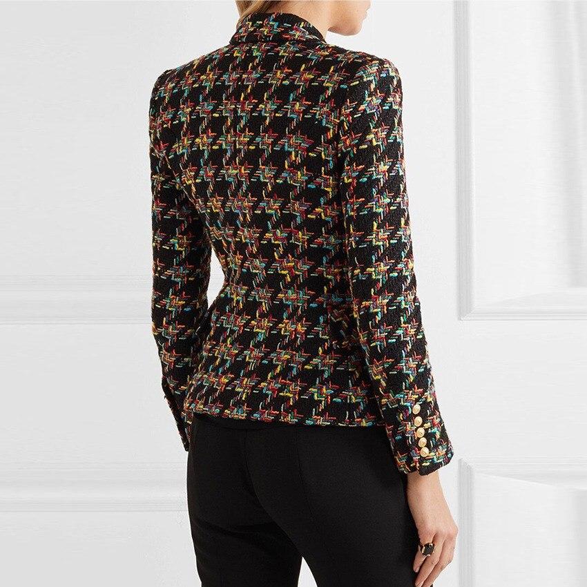 Revers Blazer As 2018 breasted Tweed Automne Picture Manches Designer Longues Nouveau Poule Manteaux Femmes Double Lady Blazers HZzH8qw