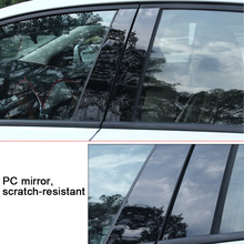 6/8pcs/Set Black Mirror Effect Car Window Pillar Posts Cover Trim For Toyota 09-18 RAV4  07-18 Corolla 6/8 Camry