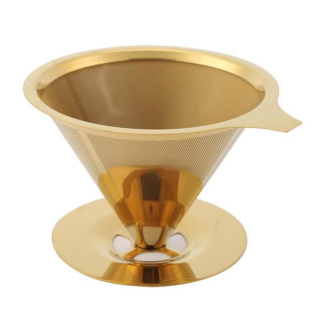 Acero inoxidable cono café filtro gotero titanio oro café cono filtro soporte infuso cocina hogar utensilios de fabricación de café