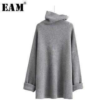 [EAM] 2019 nouveau printemps col haut à manches longues solide Coor noir Gary lâche grande taille chaud tricot pull femmes mode JA950