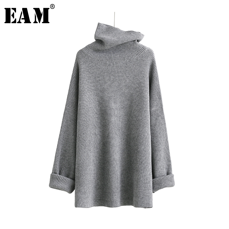 [EAM]2019 New Spring High Collar Long Sleeve Solid Coor Black Gary Loose Big Size Warm Knitting Sweater Women Fashion JA950
