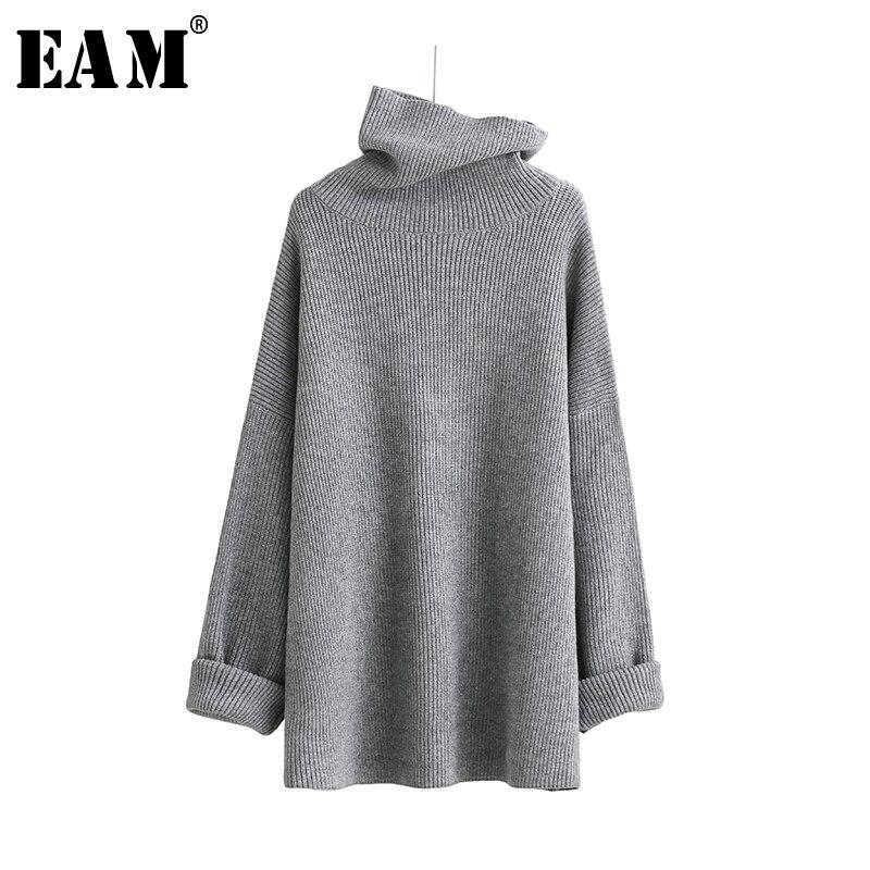 [EAM]2020 New Spring High Collar Long Sleeve Solid Coor Black Gary Loose Big Size Warm Knitting Sweater Women Fashion JA950