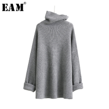 [EAM]2020 New Spring High Collar Long Sleeve Solid Coor Black Gary Loose Big Size Warm Knitting Sweater Women Fashion JA950