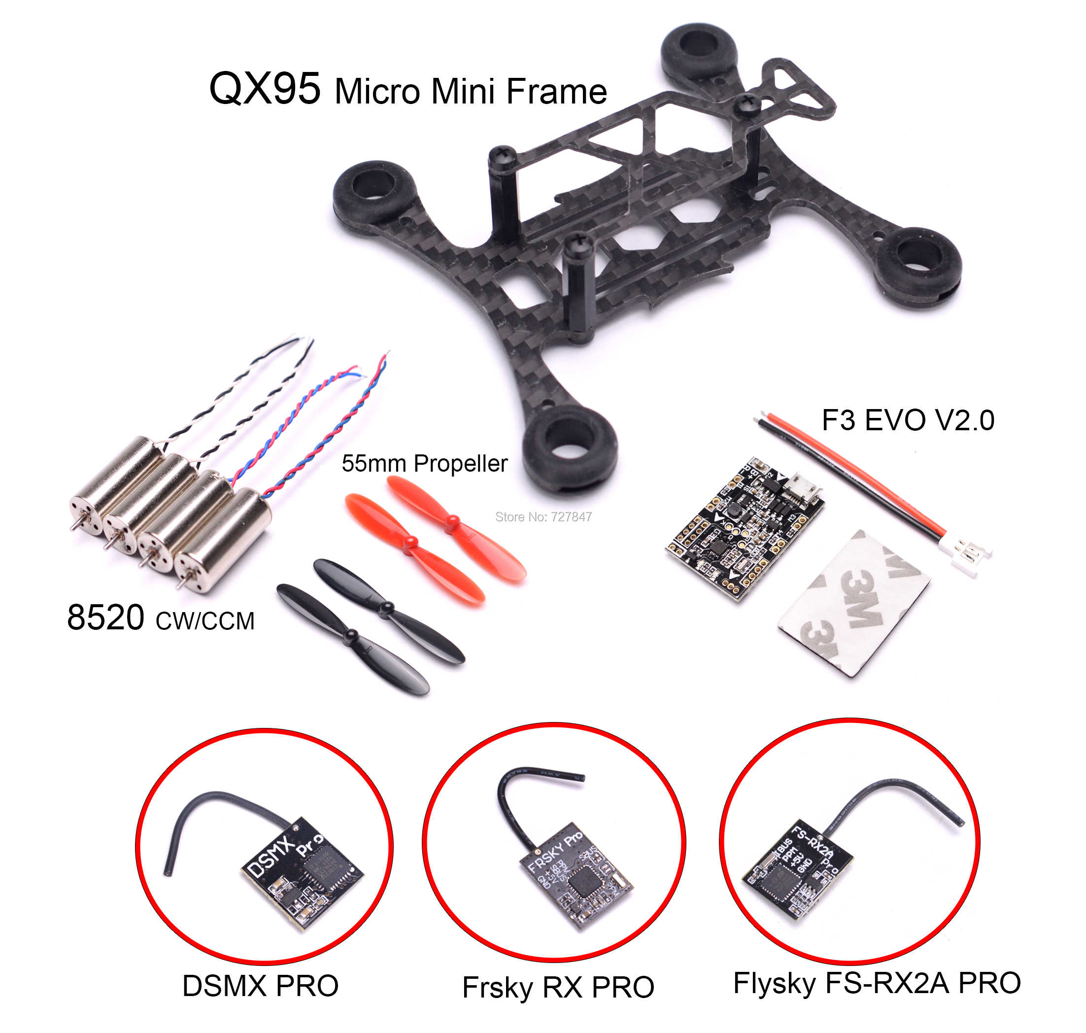 Micro mini QX95 95mm frame FPV RC Carbon Fiber 8520 Coreless Motor F3 EVO V2.0 Borstel Flight Control 55mm Prop Frsky RX Ontvanger