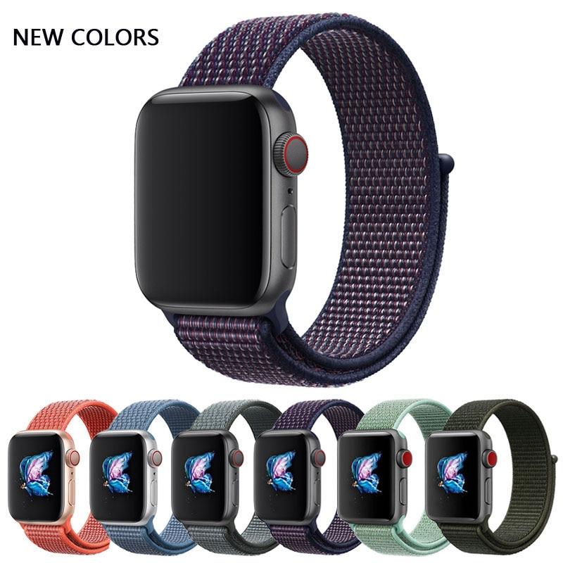 Nylon Sport Loop Strap Wrist Bracelet Belt Fabric-like Nylon Band For Iwatch 4/3/2/1 For Apple Watch 44/40/42/38mm Accessories
