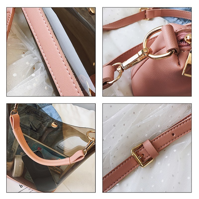 Image 5 - Herald Fashion 2pcs Women Clear Transparent Shoulder Bag Jelly Candy Summer Beach Handbag Woman Messenger Bags Bolsa FemininaTop-Handle Bags   -