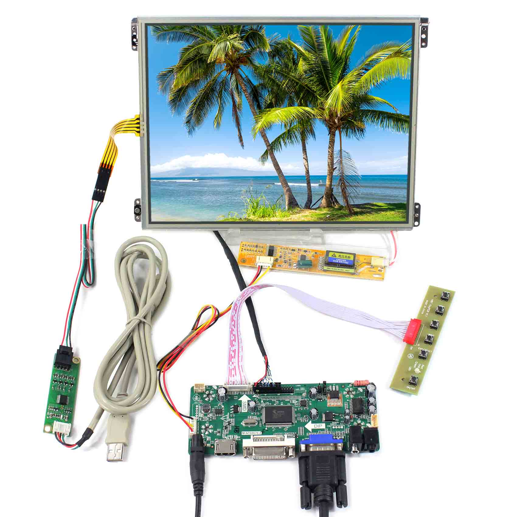 HDMI VGA DVI LCD Controller Board M.NT68676 work for 10.4inch 1024X768 IPS LCD Screen HT10X21-311 and Touch Panel VS104TP-A1HDMI VGA DVI LCD Controller Board M.NT68676 work for 10.4inch 1024X768 IPS LCD Screen HT10X21-311 and Touch Panel VS104TP-A1