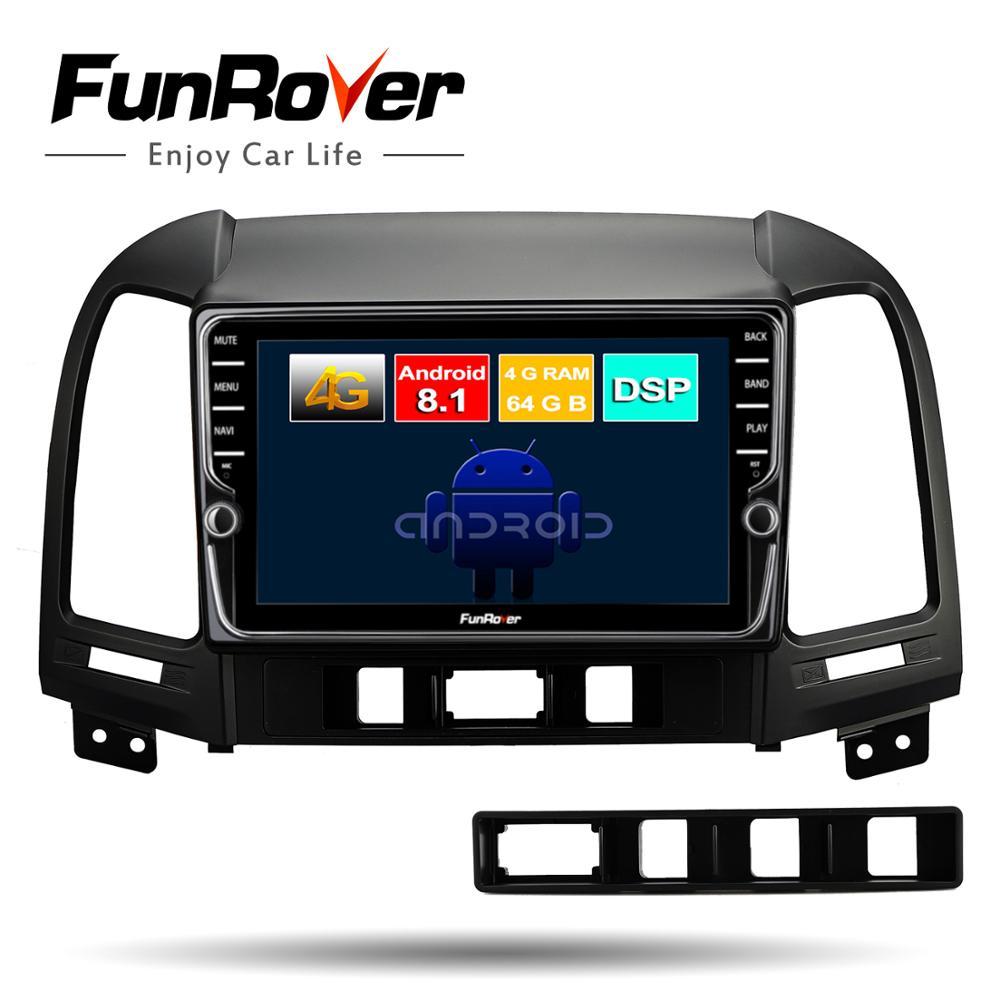 Lecteur multimédia dvd de voiture Funrover android8.1 2 din pour Hyundai Santa Fe 2005-2012 gps navigation voiture radio magnétophone 4G + 64G