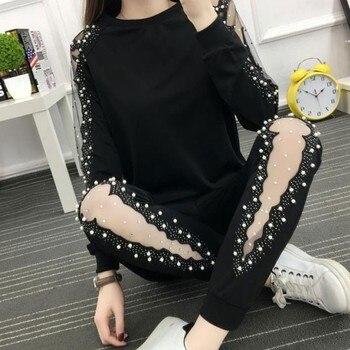2019 Autumn new Sportswear Women Long Sleeve 2 Piece Women Sportswear Set Black Casual Tops Pants Set plus Size 4XL Female h67 фото