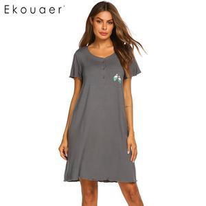 Image 1 - Ekouaer Summer Nightgown Women Sleepwear Dress O Neck Short Sleeve Front Button Pocket Decoration Chemise Night Dress