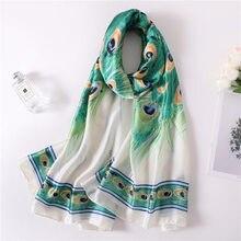 0cbb556e3b88 Las mujeres de seda de pavo real Bufanda diseñador de lujo de Pashmina de  playa verano chal Foulard Mujer Bufanda Mujer Plus tam.