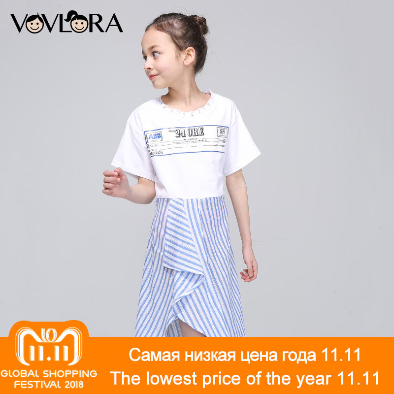 Short Sleeve Striped Sashes Girls Dress Print Letter A Line O-neck Kids Dresses Fashion Summer 2018 Size 9 10 11 12 13 14 Years