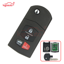 jingyuqin silicone car key cover remote case for mazda 2 3 5 6 cx 3 cx 5 cx 7 cx 9 speed miata mx5 shell protector 2 3 4 button Kigoauto 315MH 4D63 BGBX1T478SKE125-01 Flip 3+1 4 Button Remote Key Fob for Mazda 3 6 MX-5 Miata CX-7 CX-9 RX-8