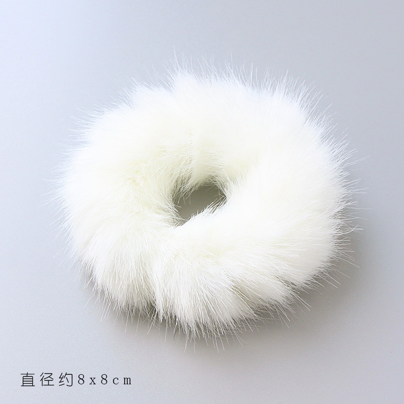 Imitation Rabbit Hair Rubber Band For Girl Soft Fur Ponytail Holders Hairdress Elasic Hair Bands Scrunchies Hair Ring 2pcs lot in Hair Accessories from Mother Kids