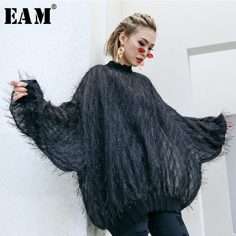 [EAM] 2019 New Spring Summer Stand Collar Long Bawing Sleeve Black Perspective Tassels Big Size T-shirt Women Fashion Tide JO347