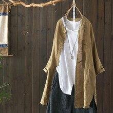 2019 Plus Size ZANZEA Spring Women Casual Solid Lapel Long Sleeve Vintage Cotton