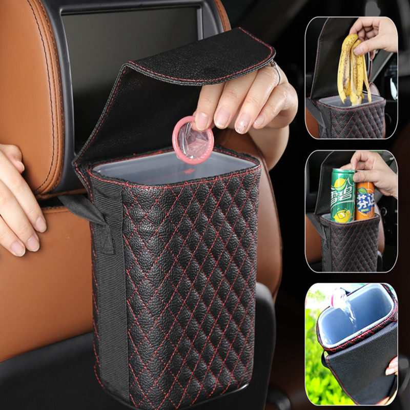Car Seat Back Hanging Trash Bin Storage Barrel PVC Leather Car Storage Waterproof Rubbish Bag Cars Interior Storage Accessories