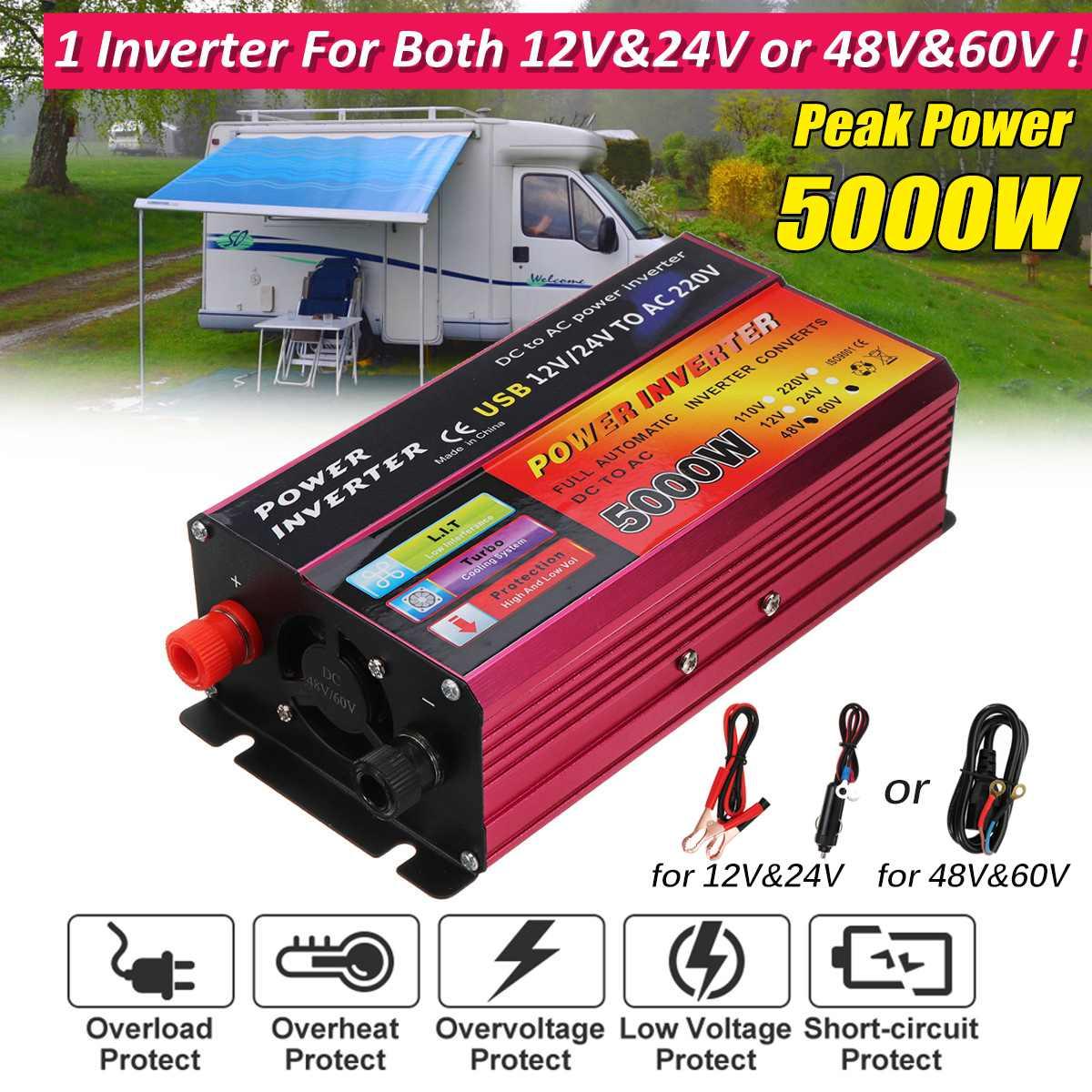 Autoleader adapter convertisseur DC 12 V/24 V à AC 220 V onduleur à onde sinusoïdale modifiée 5000 W