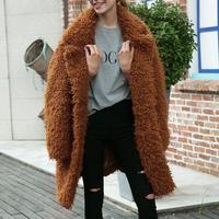 MISS M Women Faux Fur Coat Winter Thick Warm Fluffy Long Fur Coats Lady Fashion Lapel Shaggy Jackets Overcoat Plus Size Outwear