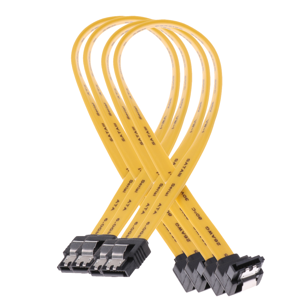 2x SATA III Data Drive Cable 6.0Gbps With Locking Latch 11.8/'/'//30cm 90Degree
