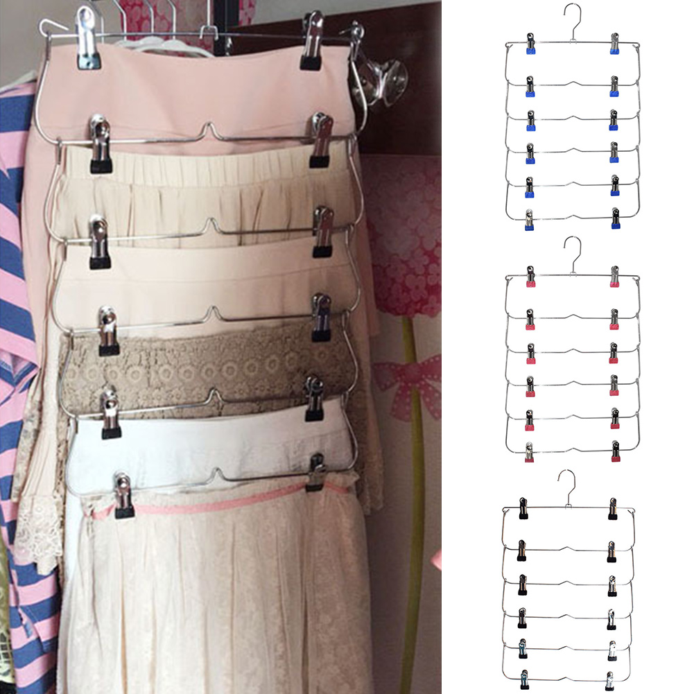 Anti-slip Multiple Layer Trousers Pants Skirt Belt Hanger Closet Rack HOT SALE