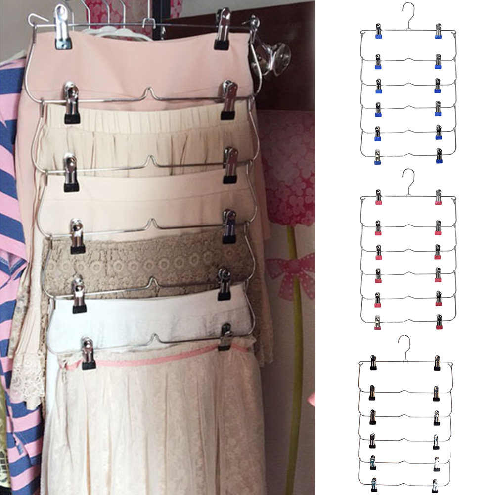 6 Layer Space Saving Foldable Closet Organizer Pants Non-Slip Steel With Clips Wardrobe Skirt Trouser Hanger Tie Rack