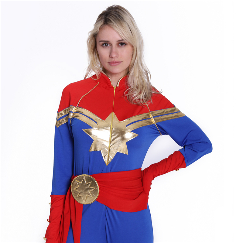 Girls Women New Arrival Captain Marvel Cosplay Costume Child Kids Superhero Ms Marvel Carol Danvers Adult Bodysuit Jumpsuit Suit