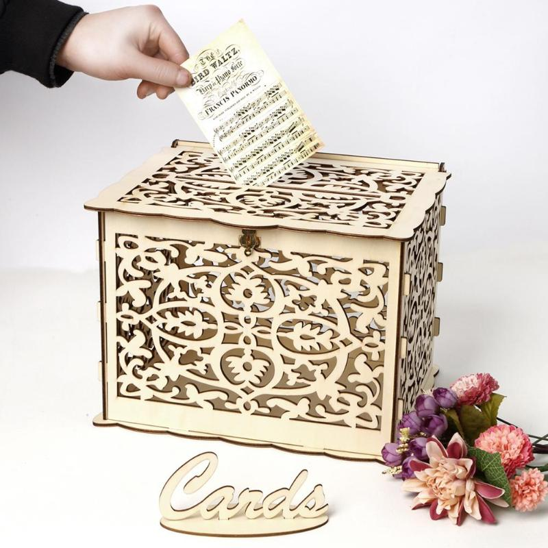 DIY Wedding Gift Card Box Wooden Money Box with Lock and Key Beautiful Wedding Decoration Supplies for Birthday Party