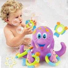1 шт. игрушка для ванны с осьминог, забавная плавающая игра с кольцом, ванна, бассейн для купания, развивающая игрушка для детей, Новое поступ...