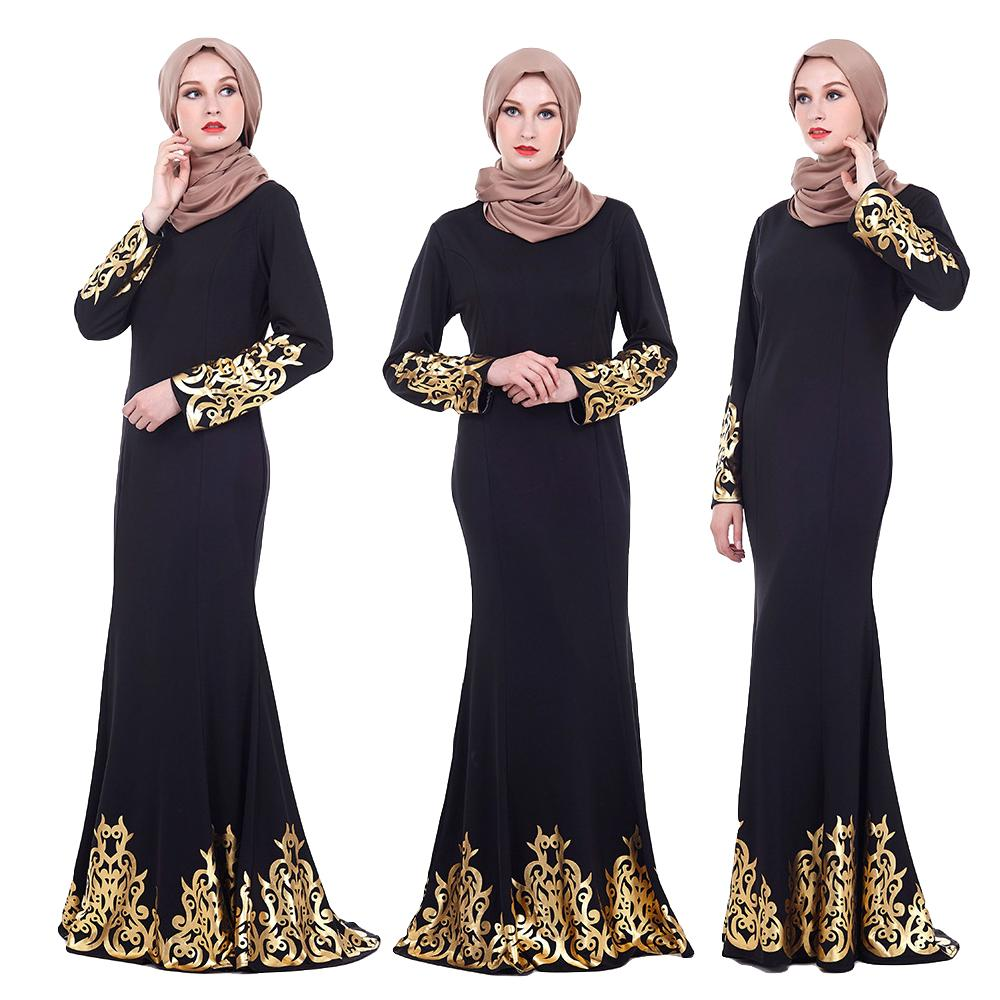 Arab Muslim Women Hot Stamping Maxi Dress Abaya Jilbab Mermaid Gown Middle East Robe Long Sleeve Party Cocktail Elegant Dresses 貓 帳篷