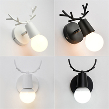 Nordic creative personality simple ironwork living room bedroom bedside childrens antler wall light