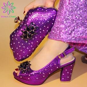 Image 2 - New Arrival srebrne włoskie buty ze stylowy zestaw torebek ozdobiony dżetów afrykańskie buty i torebka w zestawie do dopasowania na imprezę