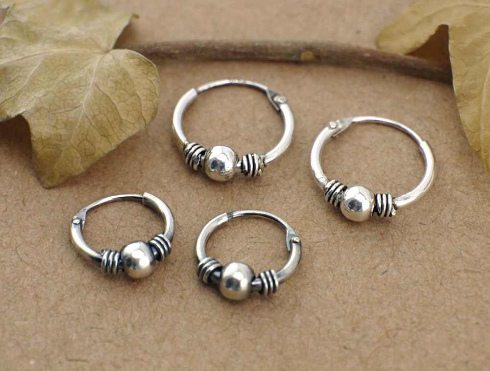 10f2c15ba 925 Solid Sterling Silver Fashion Jewelry Bali Huggie Hoop Endless Nose Ring  Earrings 10/12