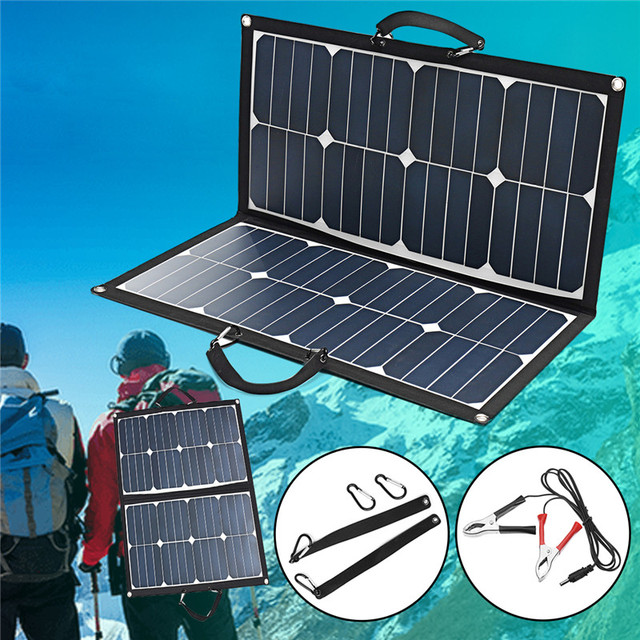 55W 18V 3.1A USB DC Double Interface Solar Folding Bag Portable Ultra Thin Monocrystalline Silicon Outdoor Solar Panel Charger