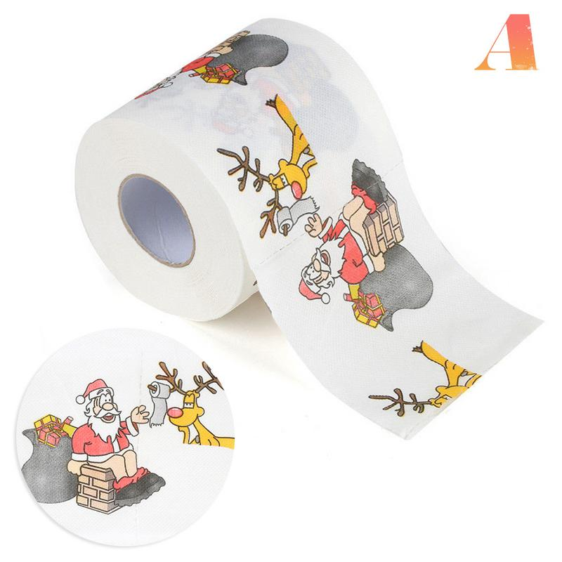 Image 3 - 4 Colors Christmas Printing Paper Toilet Tissues Novelty Roll Toilet Paper Christmas Decoration For Home Wholesale-in Party DIY Decorations from Home & Garden